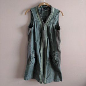 Desigual S Army Green Zip Up Dress Cotton